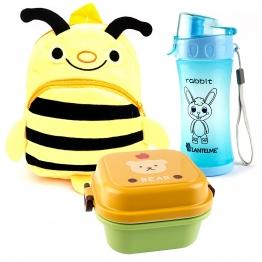 Rucksack Biene - Brotdose und Trinkflasche im Set